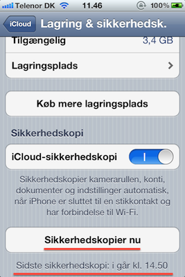 sikkerhedskopiering af iphone